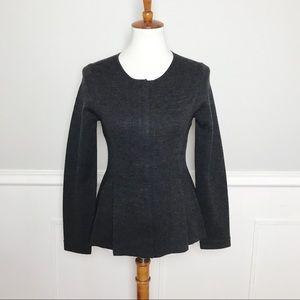 EILEEN FISHER Dark Gray Zip Peplum Sweater Jacket!